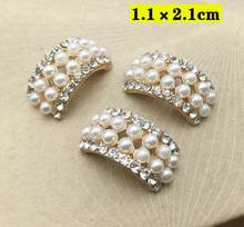 10Pcs Pearl Crystal Rhinestone Buttons Arc Flatback Embellishment for  Wedding Bouquet Decoration DIY Hair Bow Jewelry Craft e0b04619a36d
