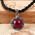 Fashion Retro 925 Sterling Silver Pendant Thai silver inlaid ruby Corundum Pendant for women