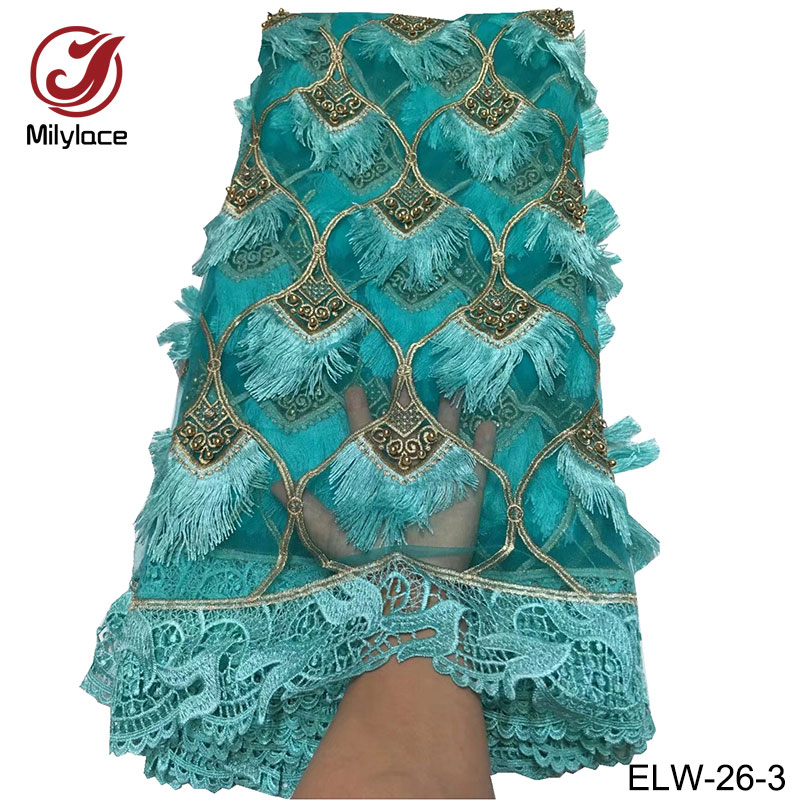 Applique african lace fabric pretty green lace fabric beaded bridal party/wedding dress lace fabric nigerian lace ELW 26