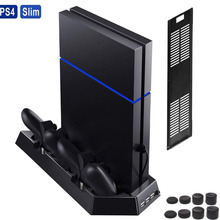 2 in 1 Vertical Stand w/ Cooling Fan Charger PlayStation 4 Slim Console PS4 Slim Charging Station w/ Dual Charger Ports USB HUB цена
