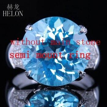 ec31fdd6ccca HELON redondo corte 14mm sólido 14 K de oro blanco exquisito diamantes  naturales Semi montaje de anillo de compromiso joyería de las mujeres anillo  de boda