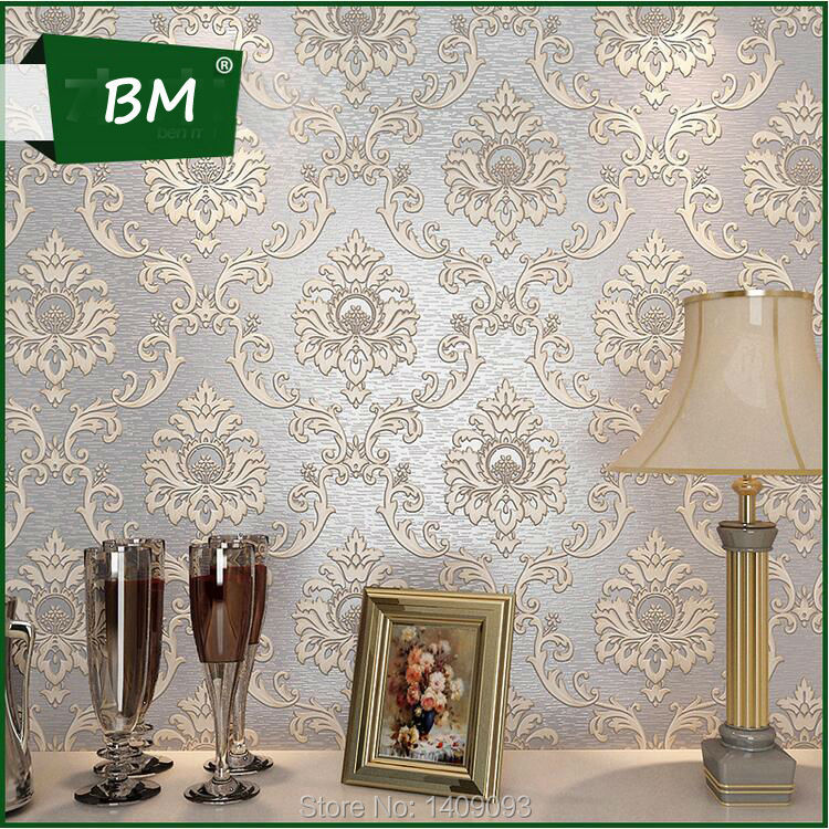 Luxury wall papers home decor for wall 3d embossed damask for European inspired home decor