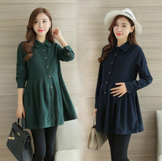 Pregnant Maternity Dresses Spring Autumn Fashion Pregnancy Solid Corduroy Clothes For Pregnant Women Clothing