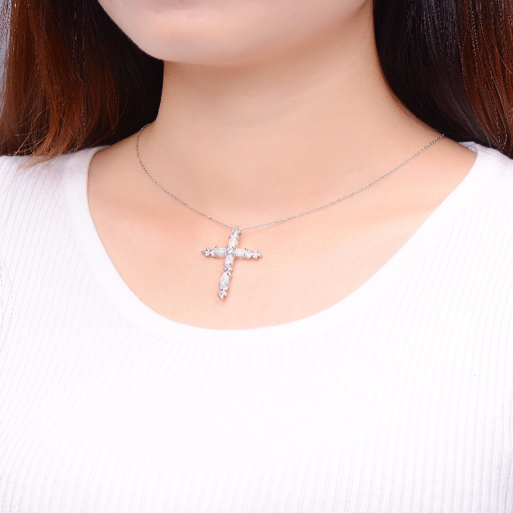 Hutang Stone Jewelry Created Opal Solid 925 Sterling Silver Cross Pendant Necklace Fine Fashion Gemstone Jewelry For Gift New все цены