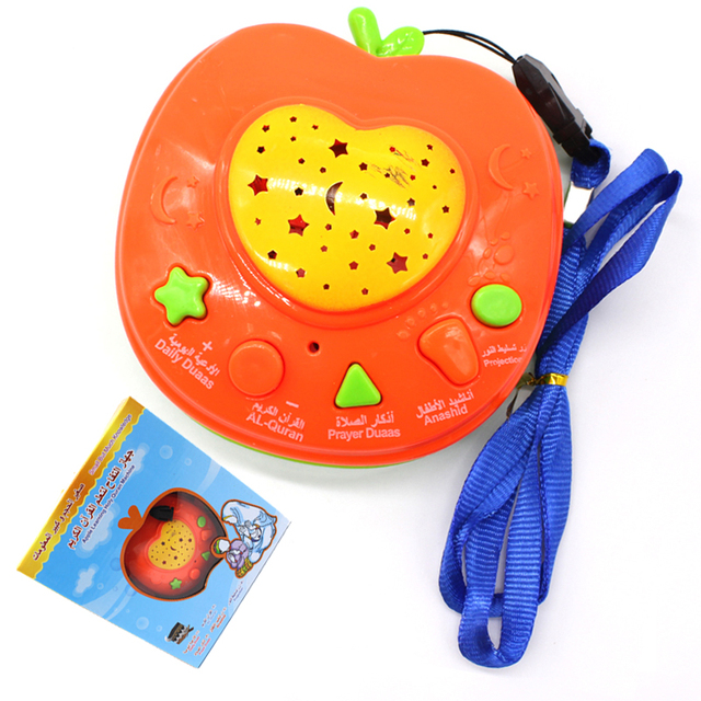 Дети мини-мусульманский коран обучения машины со светодиодной подсветкой проекции арабский auran apple истории кассир коран обучения toys