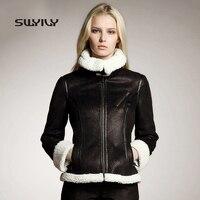 Female Faux Suede Coat Biker Jacket Buckle Design 2015 Winter New Fur Lambs Wool Luxury Locomotive Coat Zipper Short Overcoat