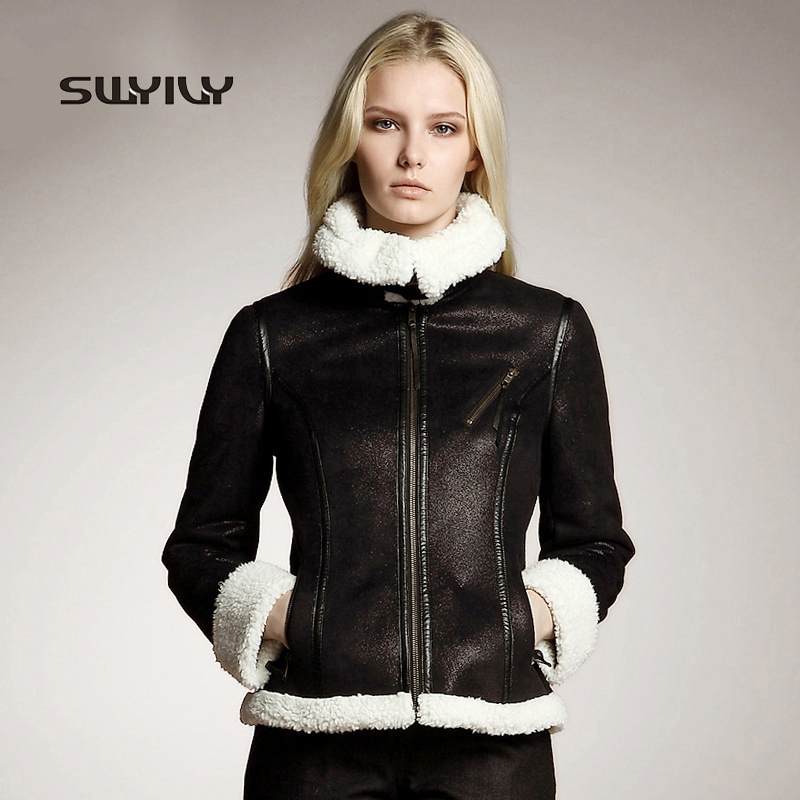 Female Faux   Suede   Coat Biker Jacket Buckle Design 2015 Winter New Fur Lambs Wool Luxury Locomotive Coat Zipper Short Overcoat