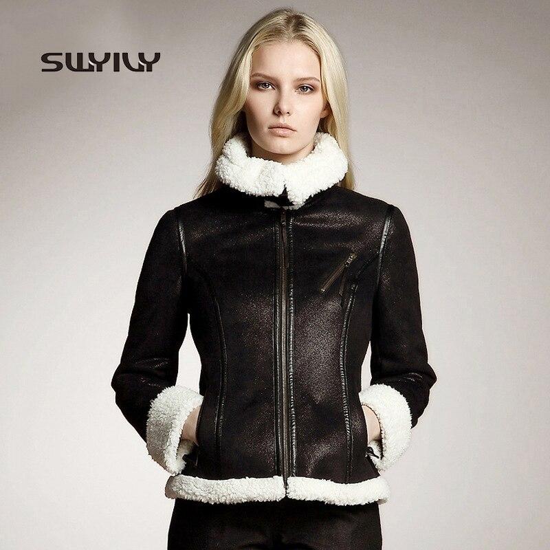 Femme Faux daim manteau Biker veste boucle Design 2019 hiver nouvelle fourrure agneaux laine de luxe Locomotive manteau Zipper court pardessus