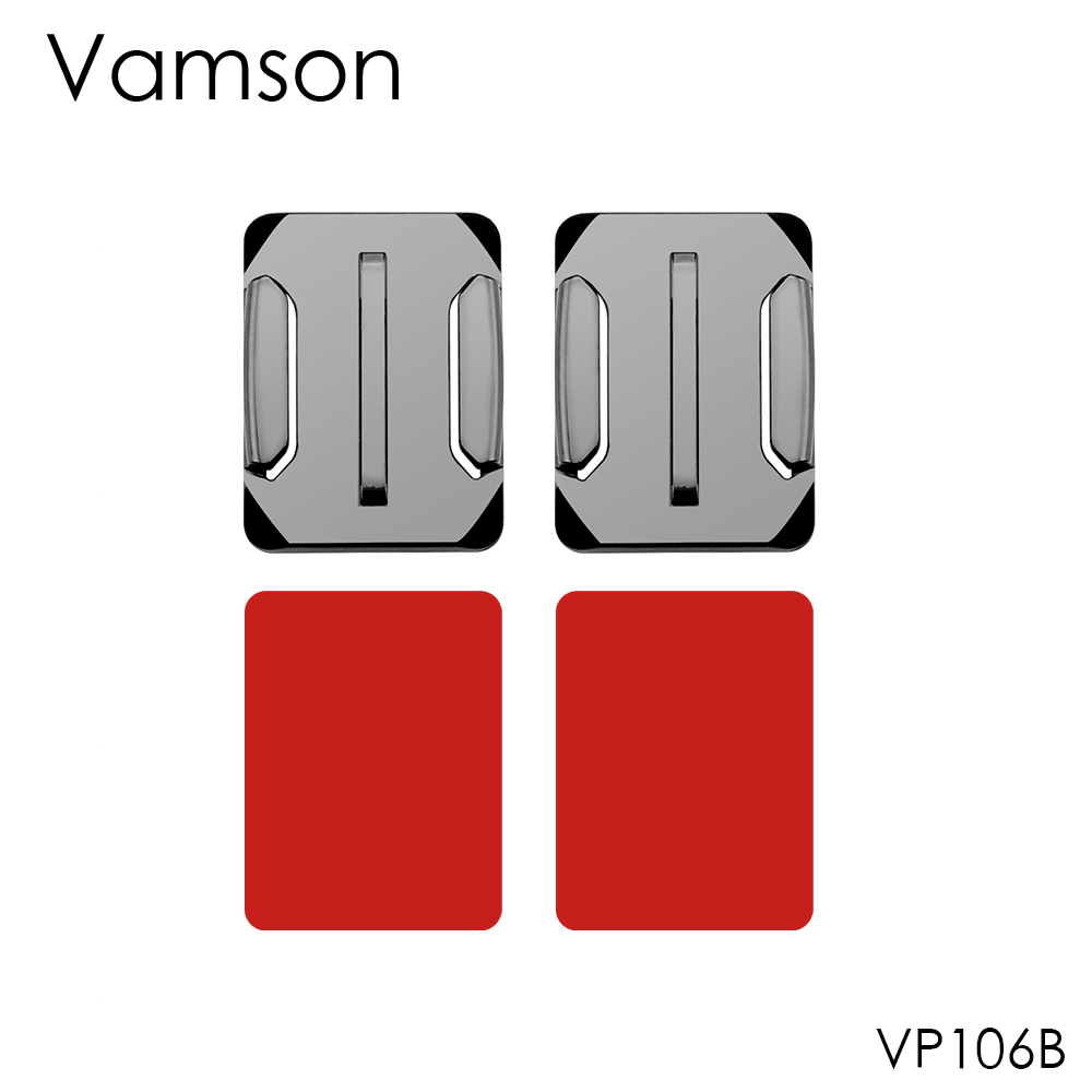 Vamson 2Pcs Curved Surface Mount with 2Pcs 3M VHB Adhesive Sticker For GoPro Hero 5 4 3+ for SJ4000 for Xiaomi for Yi 4K VP106B justone j029 3m vhb safety tether for gopro hero 4 3 3 2 1 sj4000 blue red