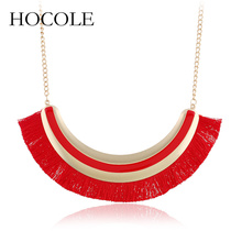 HOCOLE Bohemia 5 Colors Tassel Necklace For Women Big Ethnic Long Choker Statement Vintage Fashion Jewelry