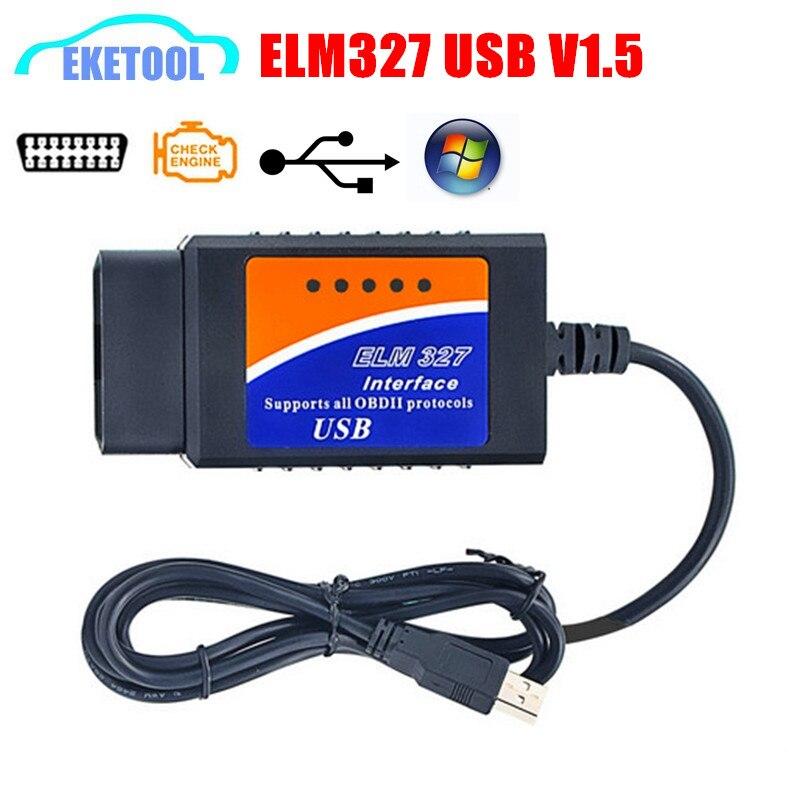 Newly ELM327 USB V1.5 Professional OBD/OBDII ELM Standard Latest PC-Based Scan Tool ELM 327 USB Diagnostic Scanner HOT