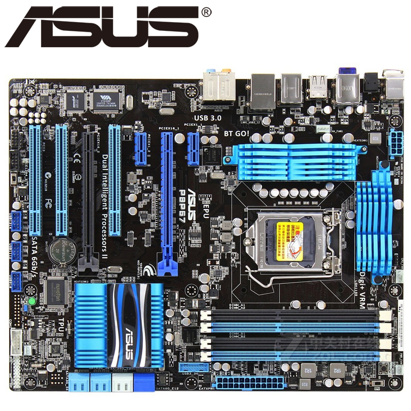 Asus P8P67 Desktop Motherboard P67 Socket LGA 1155 i3 i5 i7 DDR3 32G ATX UEFI BIOS Original Used Mainboard On Sale asus p8z77 m desktop motherboard z77 socket lga 1155 i3 i5 i7 ddr3 32g uatx uefi bios original used mainboard on sale