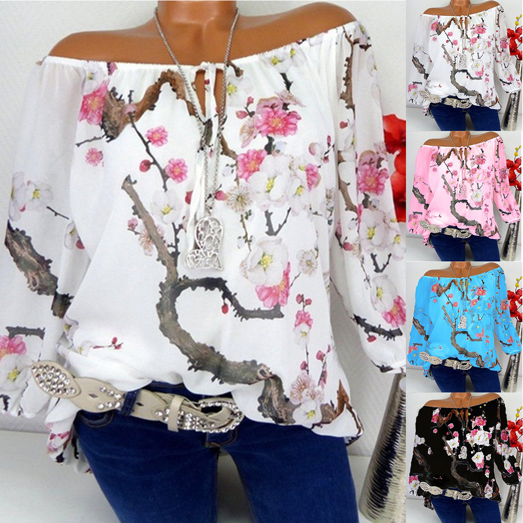 New Women Blouses Floral Printed Tops Casual Long Sleeve Loose Ladies Office Off Shoulder Shirt Tee Plus Size 5XL Blusas Z4 5