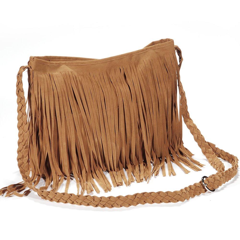 Hot Fashion Fringed Tassel Decoration handbag shoulder bag woman tendency Brown Bohemian Style Casual Bag with weaved Strap