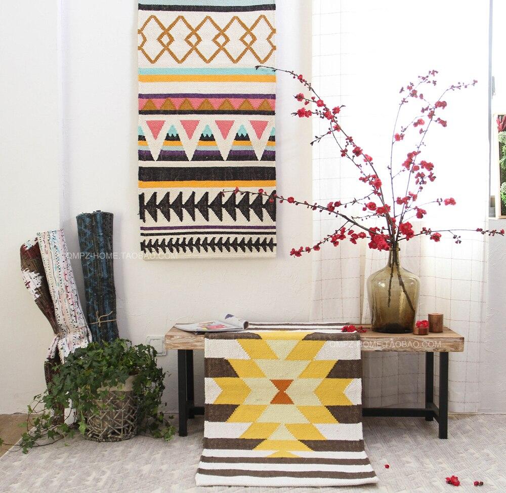 Kilim100% Cotton handmade Living room Carpet geometric Indian Rug plaid striped Modern Parlor contemporary design Nordic style