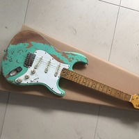 Custom Shop 100% handmade aged st guitar high quality surf green st relic guitar free shipping limited issue