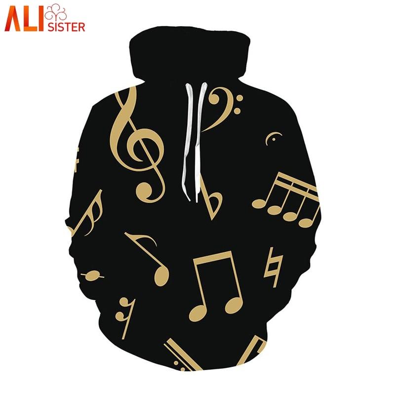 Alisister Musical Note Print Black Hoodies Spring Casual 3d Thin Hooded Pullovers Long Sleeve Sweatshirt Men Women Tracksuits