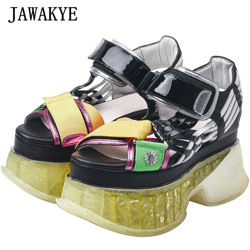New Crystal Platform Women Sandals Real Leather Clear Heels Casual Sandals Summer Black White Noctilucence Wedge Sandals LadiesNew Crystal Platform Women Sandals Real Leather Clear Heels Casual Sandals Summer Black White Noctilucence Wedge Sandals Ladies