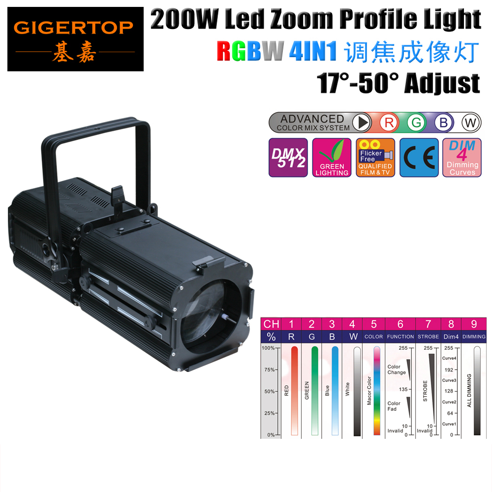 TIPTOP TP-007 200W COB RGBW 4IN1 LED Zoom Profile Light Studio Move Theater Light Background COB Projector 4 Dimmer Curve/Strobe freeshipping tiptop 200w led profile spot rgbw 4in1 stage wash effect cast aluminum gobo frame spring clip safety zoom tp 007