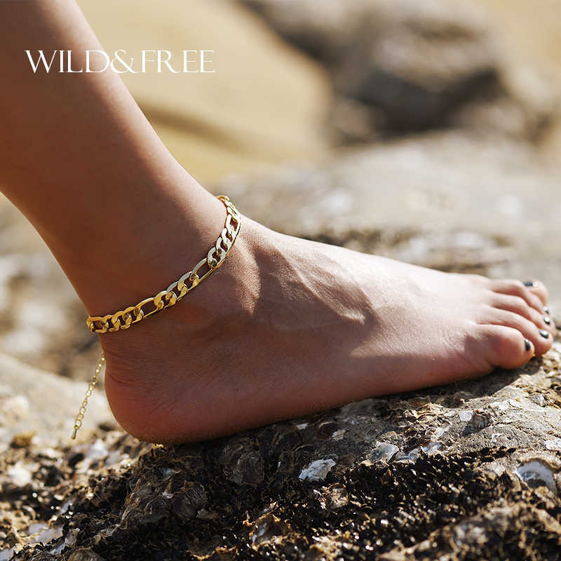 2017 New Trendy Anklets Sandalia Feminina Collare Anklet Summer Jewelry Foot Bracelet Gold Color Cheville Link Chain Feet For