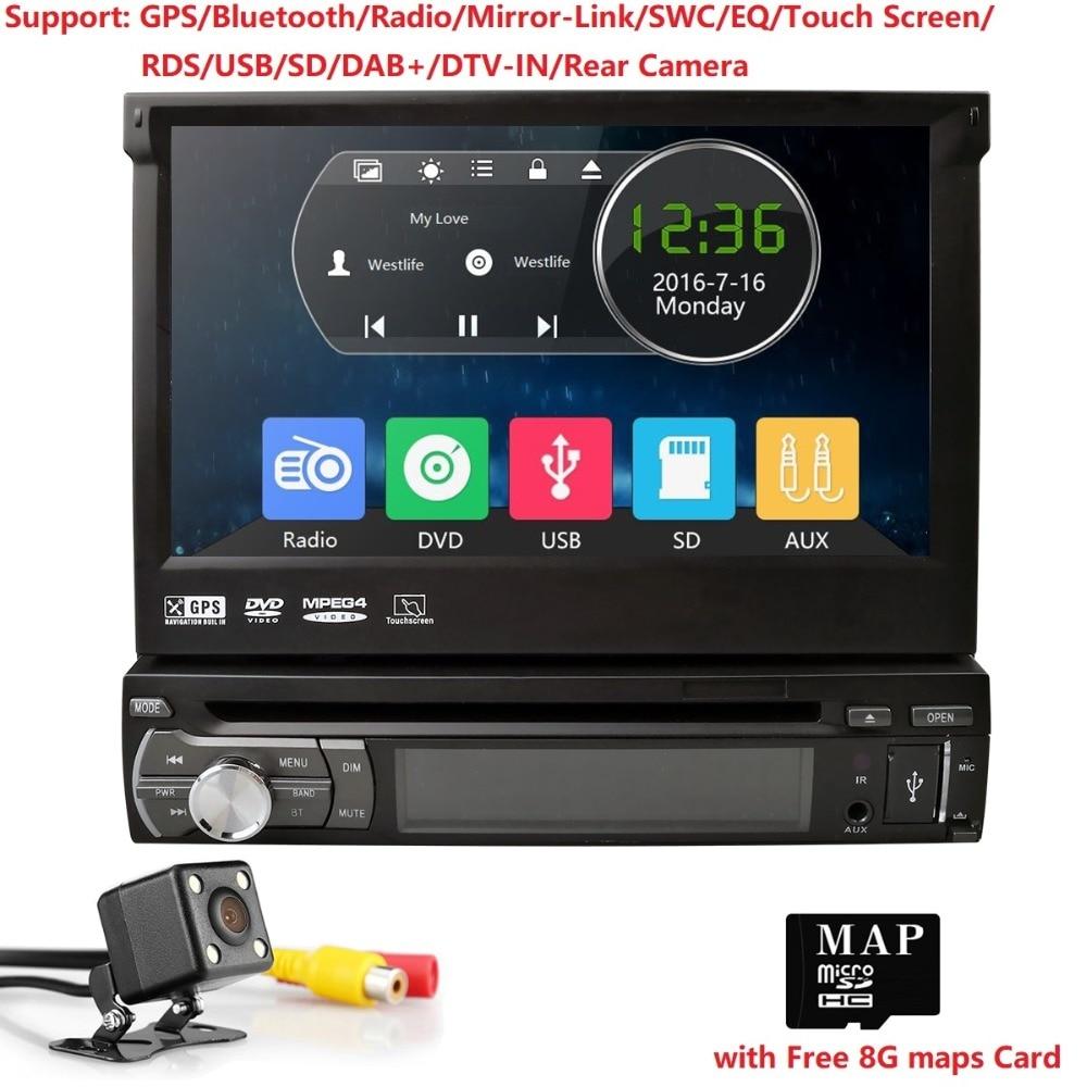 Lecteur DVD voiture 1 Din autoradio universel Headunit stéréo avec écran tactile Bluetooth RDS + caméra arrière + carte