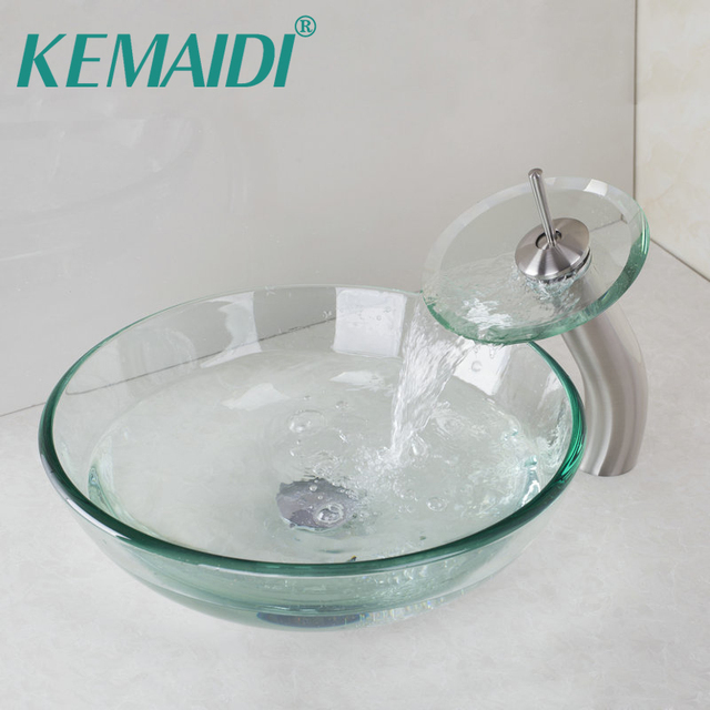 KEMAIDI Round Nickel Brushed Waterfall Faucet +Victory Glass Bowl Bathroom  Sink Wash Basin Tempered Glass