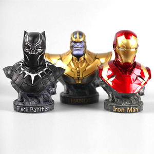Image 5 - The Avenger 3 iron man black panther thanos statues for decoration 18cm resin statuette collectible action figures gifts