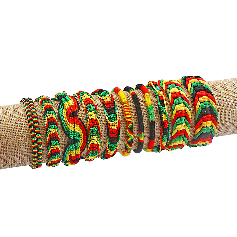 1pcs Rasta Friendship <font><b>Bracelet</b></font> Wristband Cotton Silk Reggae Jamaica Surfer Boho <font><b>Adjustable</b></font> Jewellery image