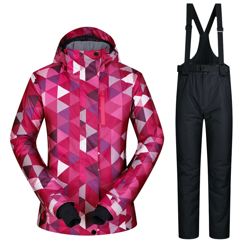 2017 New High Quality Women Skiing Jackets And Pants Snow Snowboard Clothes Warm Waterproof Windproof Winter Dress Ski Suits Set 2017 hot sale gsou snow high quality womens skiing coats 10k waterproof snowboard clothes winter snow jackets outdoor costume