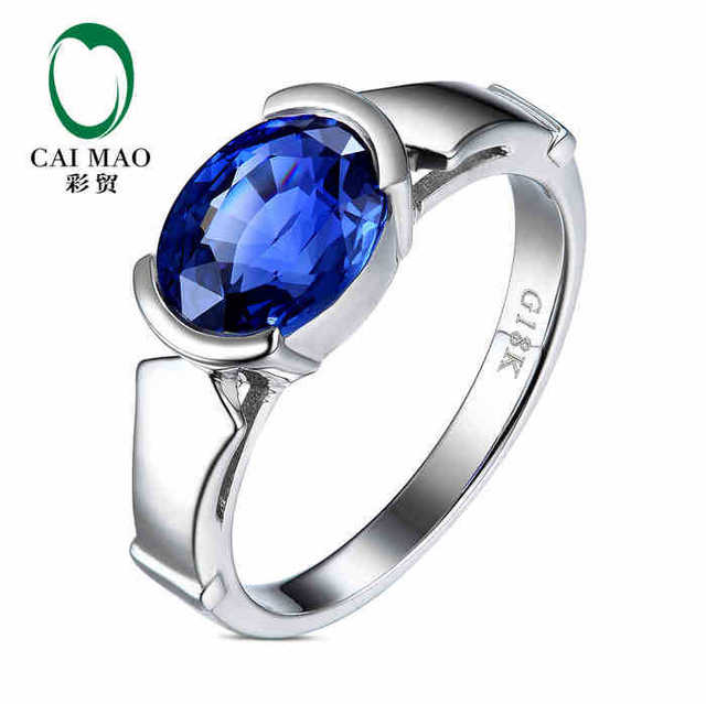 CaiMao 18KT/750 White Gold 1.51 ct Natural IF Blue Tanzanite AAA  ct Full Cut Diamond Engagement Gemstone Ring Jewelry