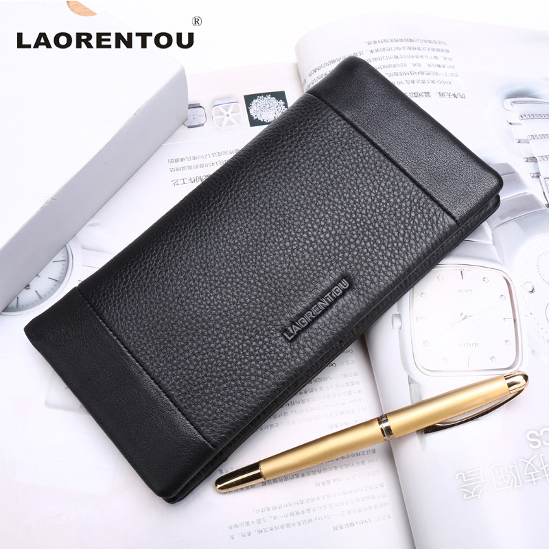 ФОТО Laorentou Brand Top Grade Soft Genuine Cow Leather Long Style Men Wallet Leather Clutch Bags With Card Slot Men Wallets N57