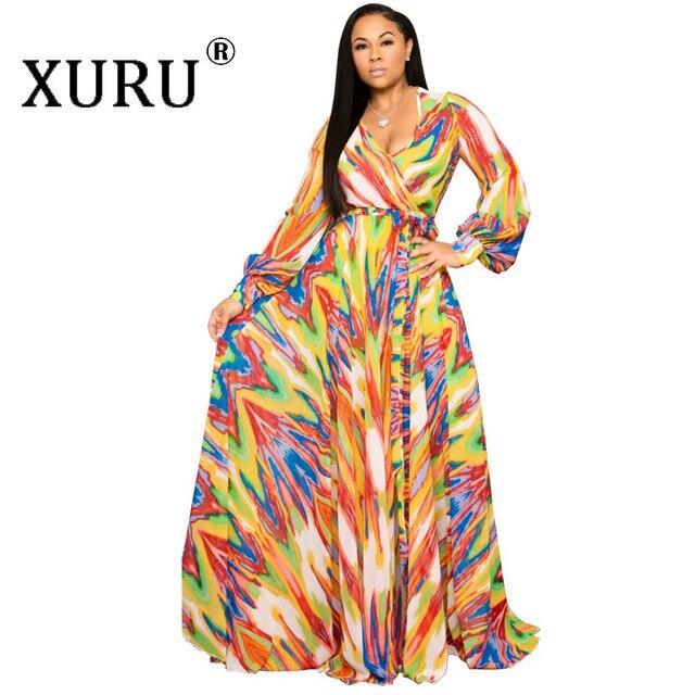 XURU chiffon print dress beach large size dress S-5XL women's long sleeve V-neck casual loose dress 6