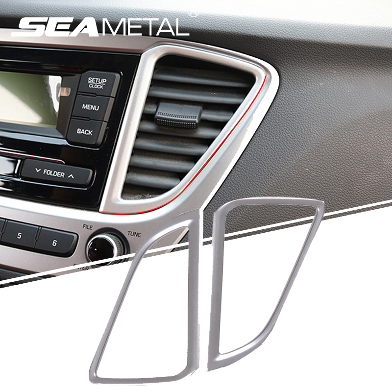 for ru hyundai solaris 2017 on car air conditioning vent outlet covers abs chrome styling. Black Bedroom Furniture Sets. Home Design Ideas