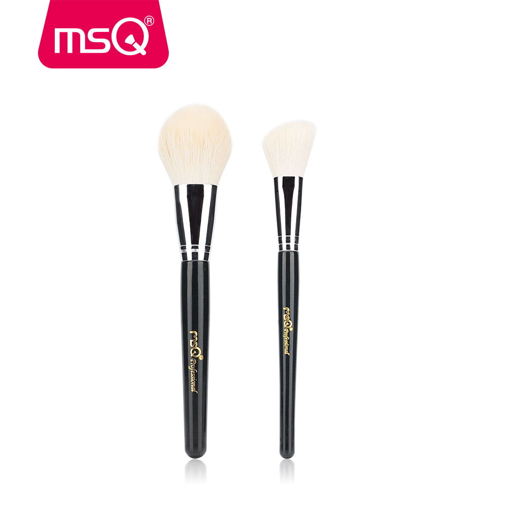 MSQ Professional Makeup Brush Set 2pcs Soft Goat Hair Powder Blush Angled Contour Brush Kit stylish multifunction telescopic design lid angled fiber blush brush