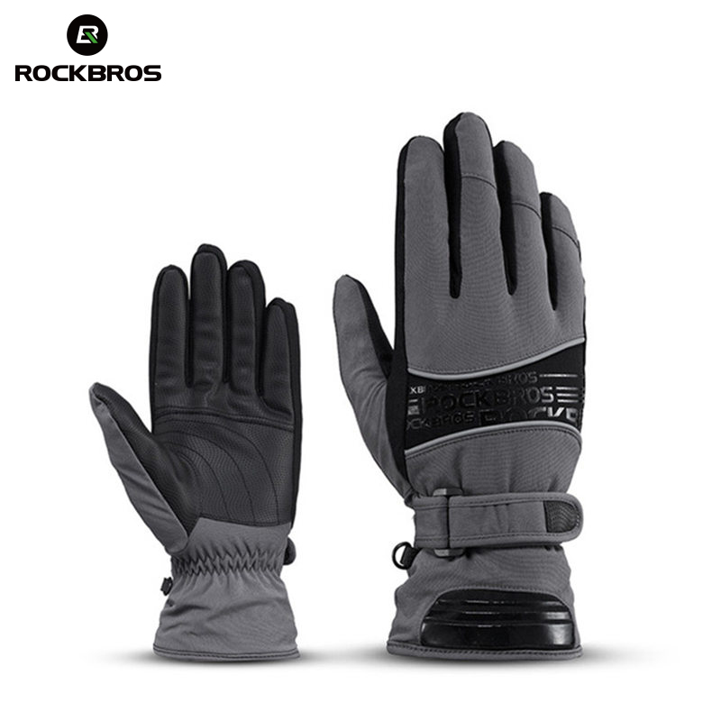 ROCKBROS Thermal Ski Gloves -30 Degree Waterproof Snowmobile Snowboard Glove Snow Men Female snowboarding Fleece Skiing Gloves