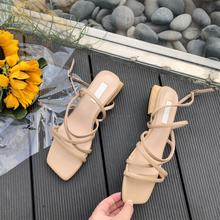 Women Summer Sandals Lace Up Buckle Strap Square Toe Low Heel Narrow Band Romen Vintage Casual Slingback Ladies Gladiator Shoes