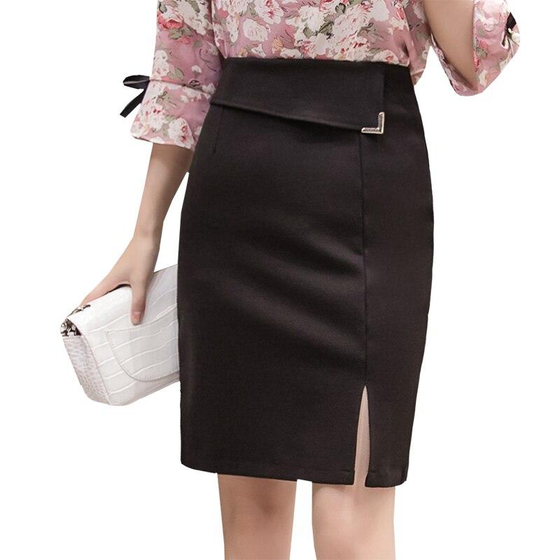 US $10.61 15% OFF|Plus Size Women Office Skirts S 5XL Fashion High Waist  Women Bodycon Pencil Skirt Open Slit Ol Skirt Stretch Fabrics Slim Skirt-in  ...