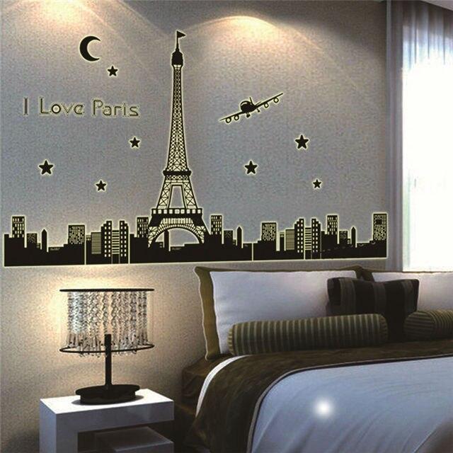 i love paris eiffel tower glow in night wall stickers bedroom decor ...