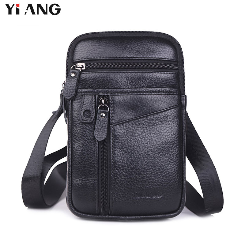 YIANG New Fashion Men Bags Leather Male Bag Small Crossbody Shoulder Bag Mobile Phone Pouch Promotional Waist Belt Bags Business все цены