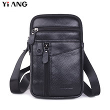 YIANG New Fashion Men Bags Leather Male Bag Small Crossbody Shoulder Bag Mobile Phone Pouch Promotional Waist Belt Bags Business
