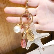 1PC New LNRRABC 2018 Cartoon Sea World Starfish Pearl Shell Keychain bag chain KeyRing Crystal Pendant Women Gift 1