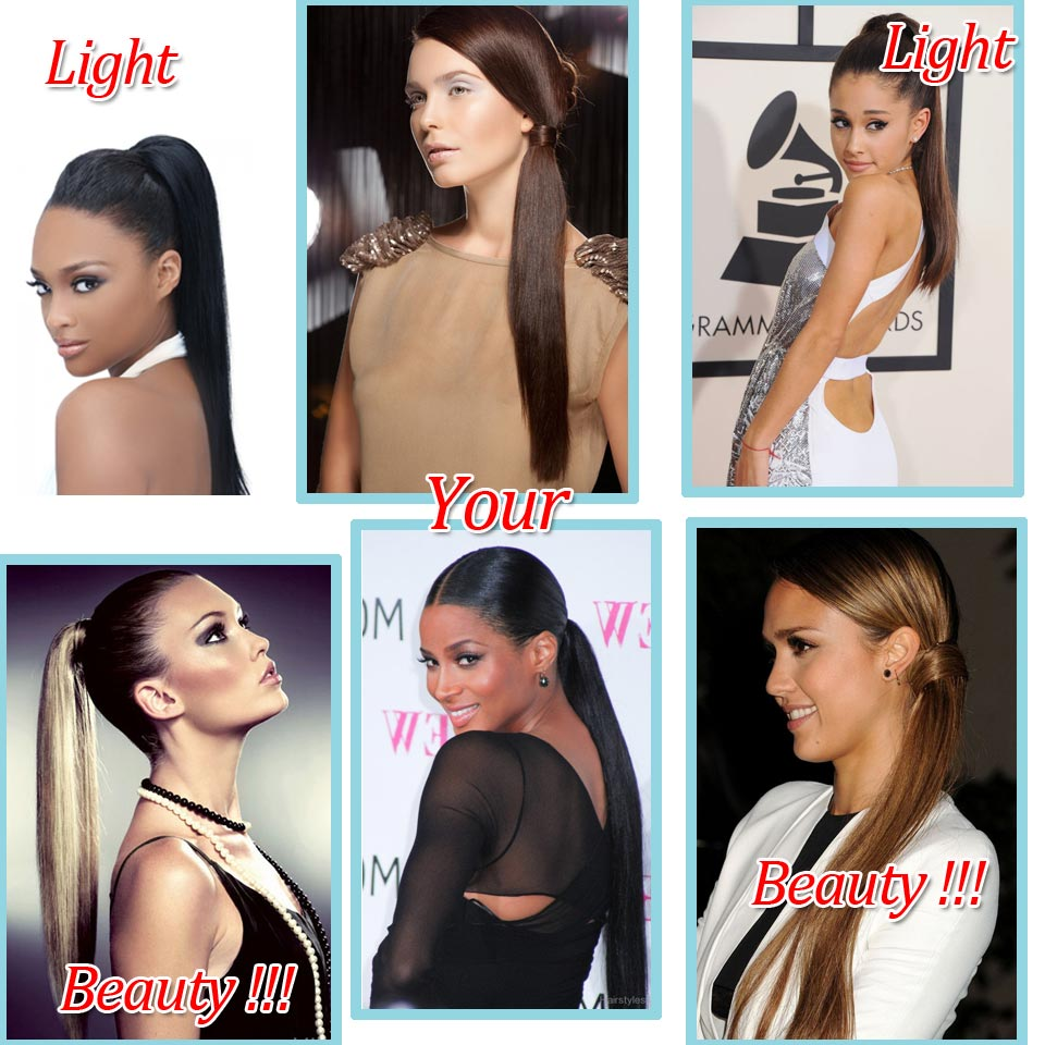162024 Long Ponytail Hair Extensions Woman Bloned Black New