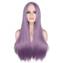 QQXCAIW длинные прямые средняя часть парик для женщин черный белый розовый оранжевый фиолетовый серый Волосы термостойкие синтетические волосы парики