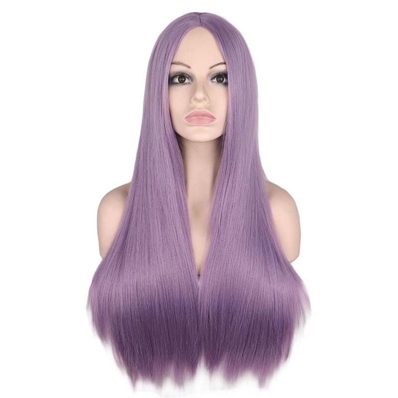 Qqxcaiw longa reta parte do meio peruca para as mulheres preto branco rosa laranja roxo cinza cabelo resistente ao calor perucas de cabelo sintético