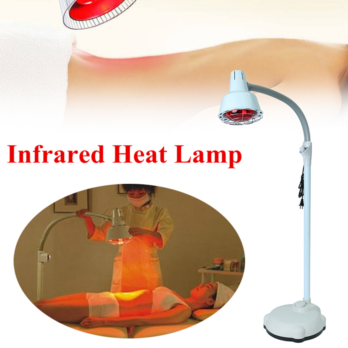 220v 275w Floor Stand Infrared Heat Lamp Adjustable