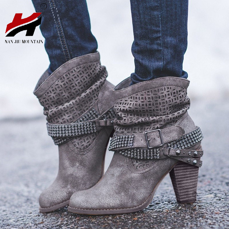 2018 NAN JIU MOUNTAIN New Short Boots High Heel Thick With Rhinestone Womens Boots Womens Shoes Large Size 35-432018 NAN JIU MOUNTAIN New Short Boots High Heel Thick With Rhinestone Womens Boots Womens Shoes Large Size 35-43
