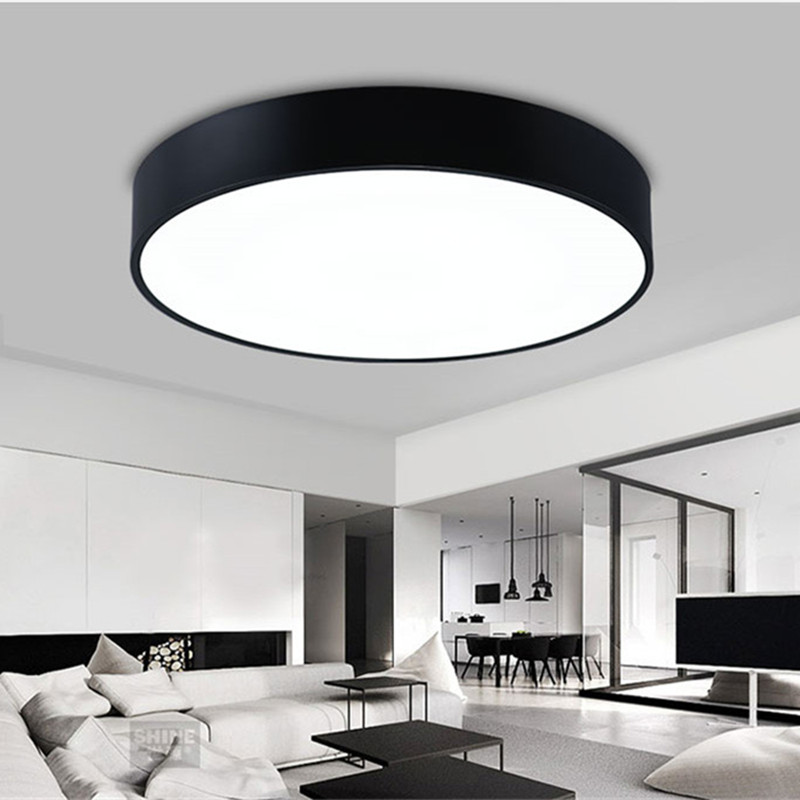 Simple Modern Round LED Ceiling Light White/black Circle Ceiling Mounted Lamp Home Decor Fixtures for study dining room bedroom цена 2017