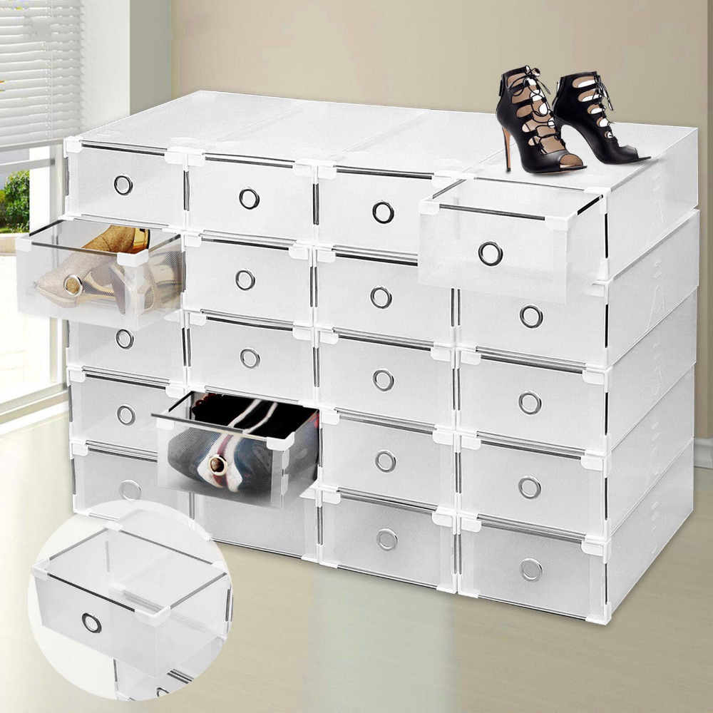 (Ship from Germany) 20pcs Plastic Drawer Shoe Boot Storage Box Clear Stackable House Organizer Transparent Folding Box(Ship from Germany) 20pcs Plastic Drawer Shoe Boot Storage Box Clear Stackable House Organizer Transparent Folding Box