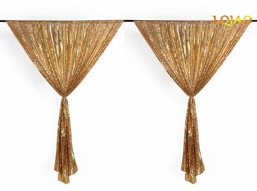Customize 2pcs 4x8ft gold/red/silver/rose gold/champagne sequin curtain sparkly wedding party photo booth backdrop photography