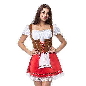 Nuove Donne Più Il Formato Tedesco Dirndl Vestito di Halloween Abiti Off Spalla Bavarese Wench Attaccato Grembiule Costume Vestito